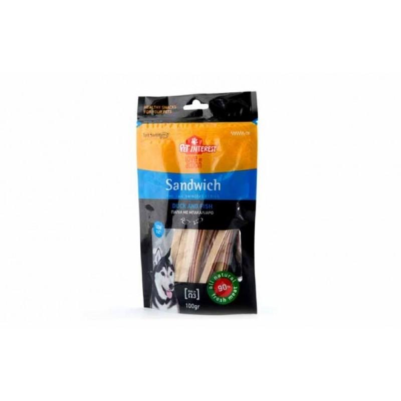 PET INTEREST- SANDWICH WITH DUCK AND FISH Λιχουδιές- Snacks